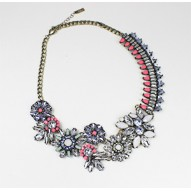 Blue Crystal Geo Bouquet Collar Necklace