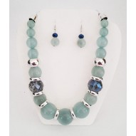 Jade, Blue & Silver Necklace Set