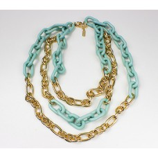 Gilded Mint Acrylic Links Necklace