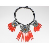 Orange Filgree Fring Bib Necklace
